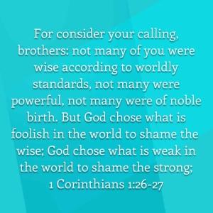 I Corinthians ch. 1, vs. 26-27